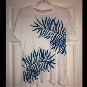 Tory Burch blue and white palm leaf t-shirt